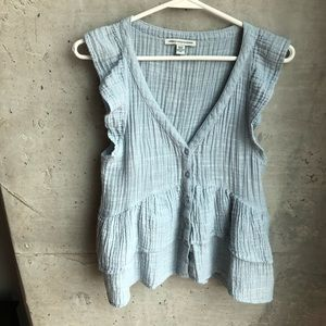 American Eagle Outfitters blue Flirty Blouse  XS